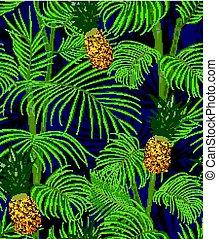 egzotyczny, ciemny, próbka, liście, seamless, tropikalny, tło., dłoń, ananasy