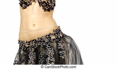 egzotyczny, jej, biodra, początkowy, tułów, tancerz, brzuch, samica, biały, potrząsanie