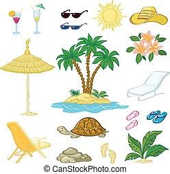 egzotyczny, komplet, obiekty, dłoń, kwiaty, plaża