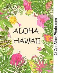 egzotyczny, lato, afisz, liście, hawaje, tropikalne kwiecie