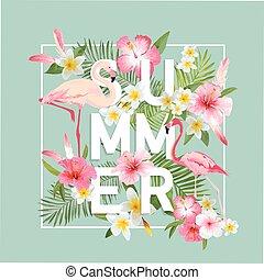 egzotyczny, lato, flaming, graphic., tropikalny, t-shirt, tło., fason, vector., kwiaty, design.