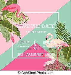 egzotyczny, lato, flaming, karta, ślub, tropikalny, wektor, zaproszenie, kwiatowy, kwiaty