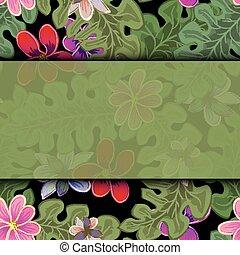egzotyczny, lato, frame., afisz, karta, leaves., plakat, tropikalny, dłoń, tapeta, tło
