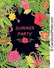egzotyczny, lato, liście, chorągiew, ferie