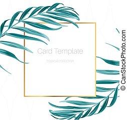 egzotyczny, liście, tropikalny, dłoń, szablon, ułożyć, karta