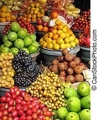 egzotyczny, market., bali, otwarty, warzywa, powietrze,...