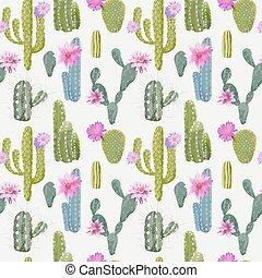egzotyczny, pattern., seamless, tropikalny, tło., wektor, kaktus, plant.