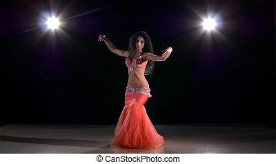 egzotyczny, powoli taniec, nazad lekki, młody, ruch, tancerz, brzuch, czarnoskóry, dziewczyna
