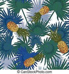egzotyczny, próbka, liście, seamless, tropikalny, tło., dłoń, biały, ananasy