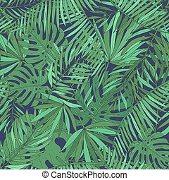 egzotyczny, próbka, seamless, leaves., tropikalny, tło., dłoń, zielony