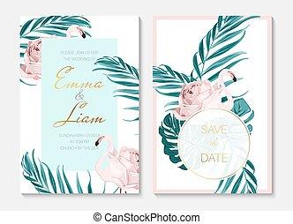egzotyczny, różowy czerwonak, flower., birds., set., ślub, ciało, leaves., zaproszenie, formułować, zielony, szablon, róża, bilety, dłoń, wypadek