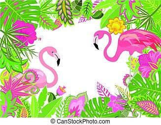 egzotyczny, różowy czerwonak, ułożyć, letni, liście, święto, lilia