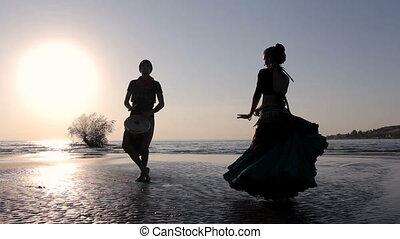 egzotyczny, sylwetka, taniec, taniec, dobosz, dziewczyna