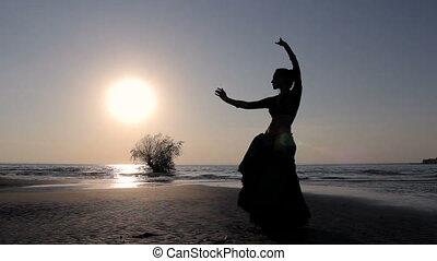 egzotyczny, sylwetka, taniec, taniec, dziewczyna, plaża