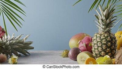 egzotyczny, szary, uhd, blue., drewniany, ruch, ananas, -, ...