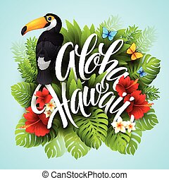 egzotyczny, tytuł, hawaii., aloha, ręka, flowers., wektor, ilustracja