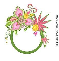 egzotyczny, ułożyć, kwiaty, ptak