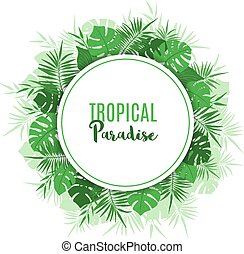 egzotyczny, ułożyć, leaves., tropikalny, zielony, kwiatowy