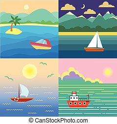 egzotyczny, water., krajobraz, łódka, niebo, statek, clouds., słońce, ocean, wyspa