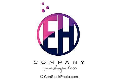 EH E H Circle Letter Logo Design with Purple Dots Bubbles -...