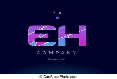 eh e h colored blue pink purple alphabet letter logo icon...