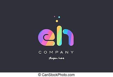 eh e h colored rainbow creative colors alphabet letter logo...