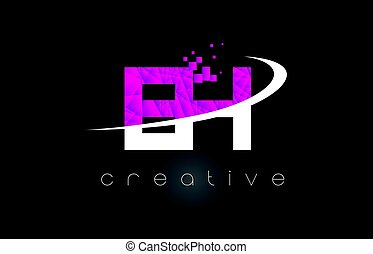 EH E H Creative Letters Design With White Pink Colors - EH E...