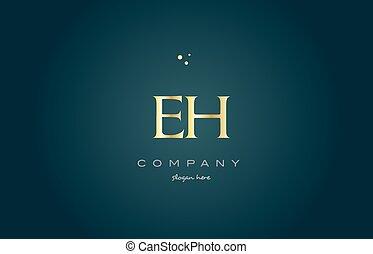 eh e h gold golden luxury alphabet letter logo icon template...