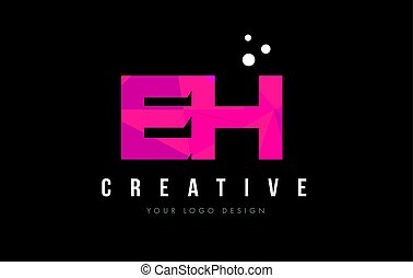 EH E H Letter Logo with Purple Low Poly Pink Triangles...