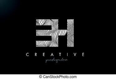 EH E H Letter Logo with Zebra Lines Texture Design Vector. -...