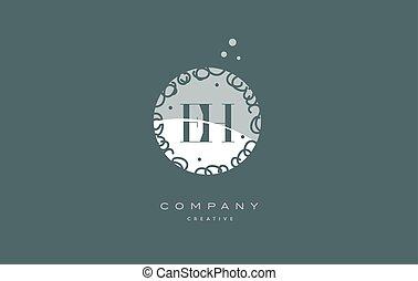 eh e h monogram floral green alphabet company letter logo -...