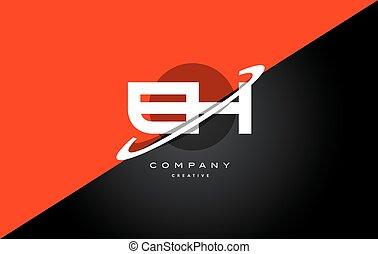 eh e h red black technology alphabet company letter logo...