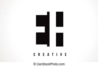 EH E H White Letter Logo Design with Black Square. - EH E H...