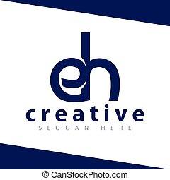 eh letter logo design Template