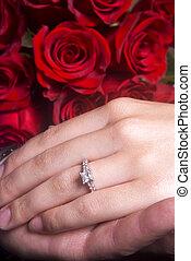 ehefrau, ausstellung, verlobung , hände, ring, ehemann
