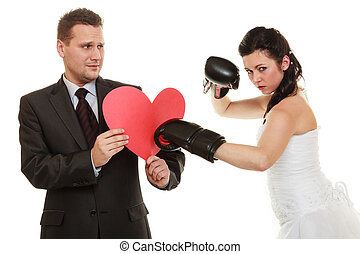 ehepaar, fighting.