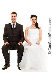 ehepaar, in, wedding, day.