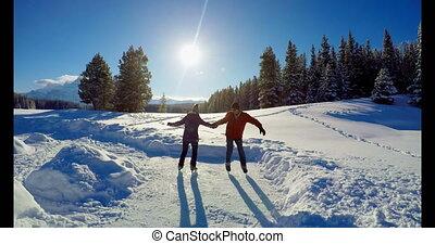 ehepaar schlittschuhlaufen, auf, verschneiter ,...