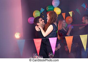 ehepaar, tanzt, an, party
