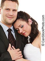 ehepaar, umarmen