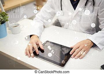 ehr., emr, medyczny, konsultacja, czek, online, healthcare., zdrowie, faktyczny, screen., pojęcie