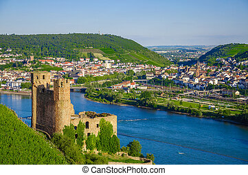 Ehrenfels Castle on Rhine river near Ruedesheim - Ehrenfels...