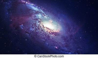 ehrfurchtgebietend, spiralförmige galaxie, viele, licht, jahre, weit, von, der, earth., elemente, möbliert, per, nasa