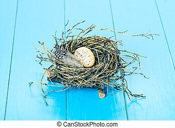 ei, in, nest, auf, blaues, hölzern, hintergrund
