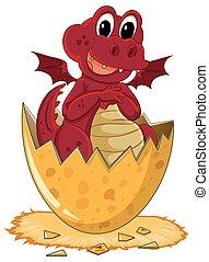 ei, rood, arcering, draak