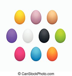 ei, set, pasen, kleurrijke, driedimensioneel