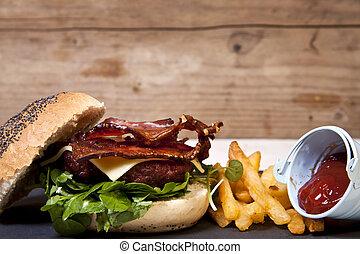 ei, speck, käse, burger.