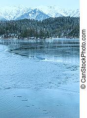 eibsee, 湖, 冬天, 觀點。