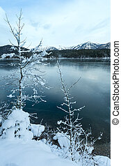 eibsee, lago, inverno, vista.