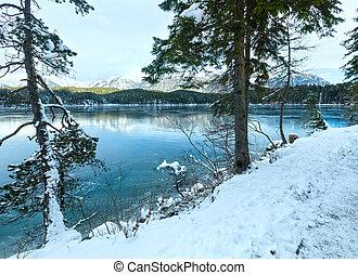 Eibsee lake winter view.